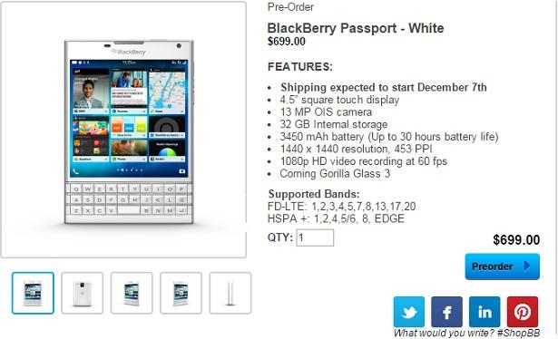 Blackberry Passport in White Color